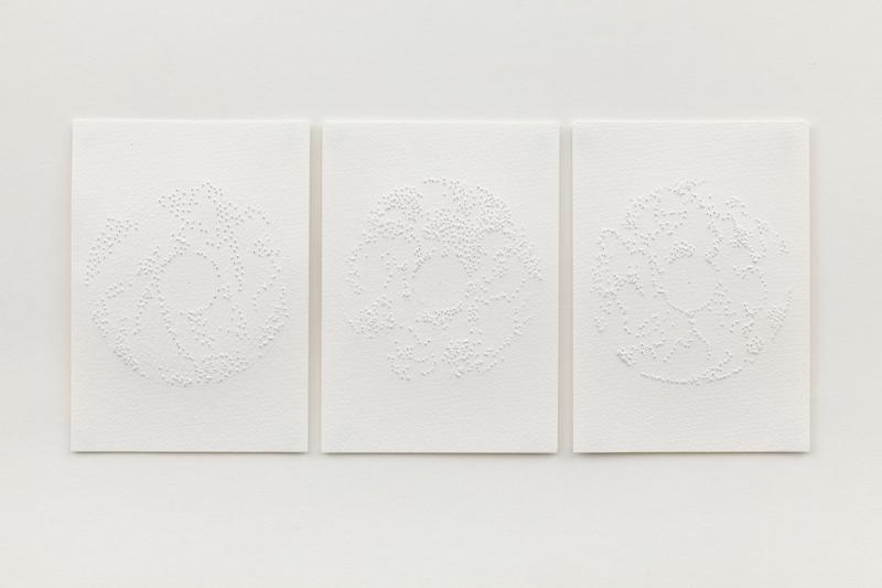 White Pierced Triptych 17 x 35cm